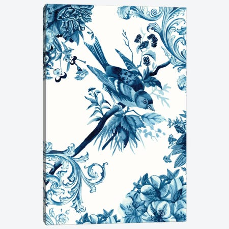 Bird & Branch In Indigo II Canvas Print #NMC188} by Naomi McCavitt Canvas Art Print
