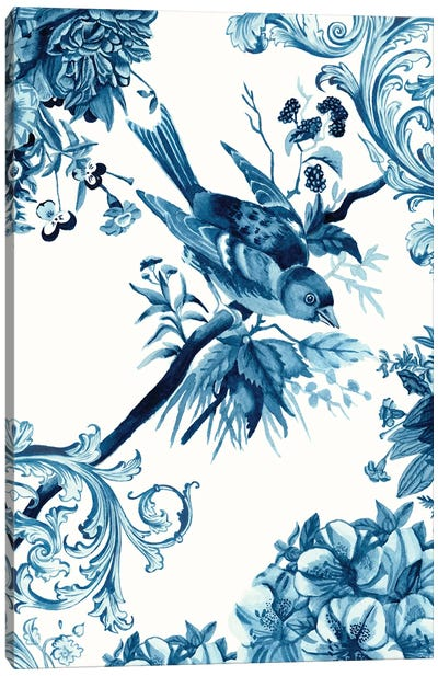 Bird & Branch In Indigo II Canvas Art Print