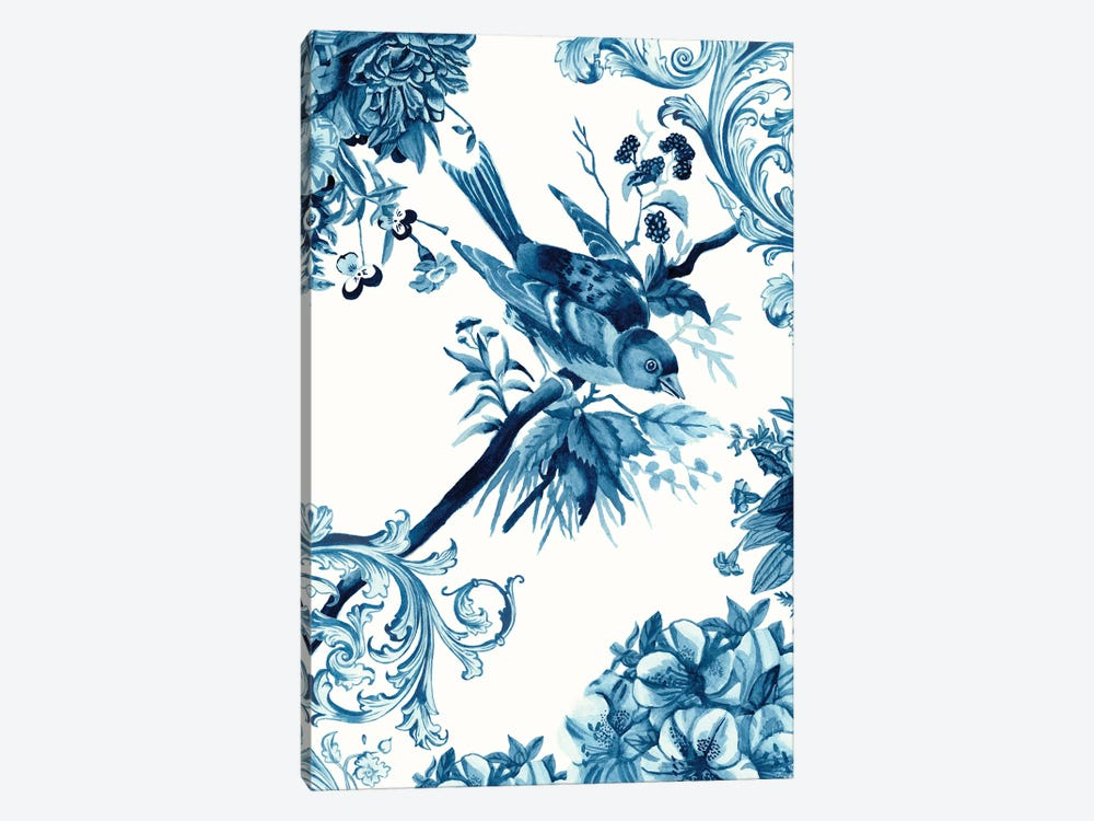 Bird & Branch In Indigo II 1-piece Canvas Art Print