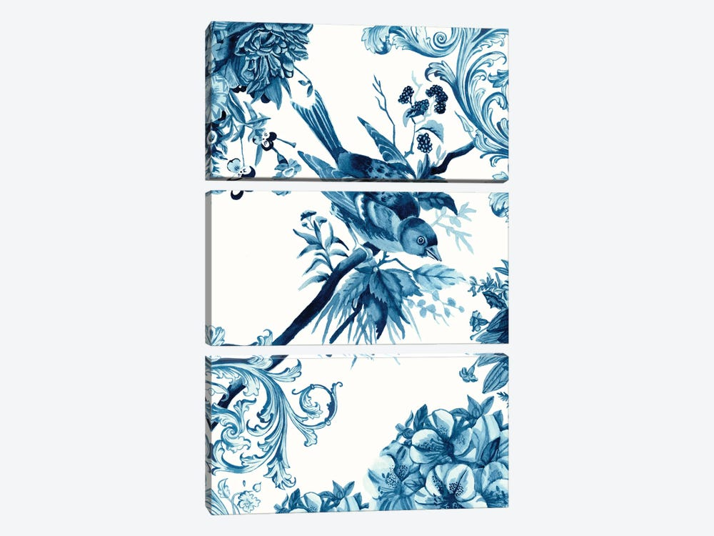 Bird & Branch In Indigo II by Naomi McCavitt 3-piece Canvas Art Print