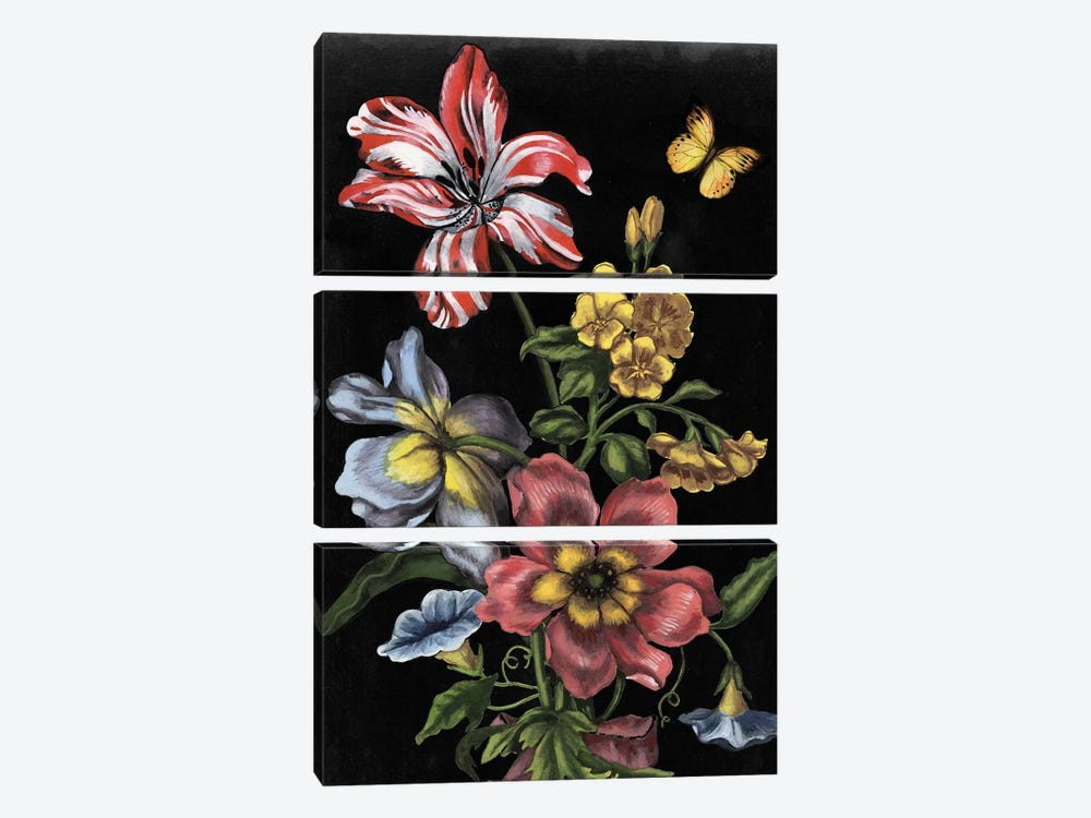 Dark Floral I 3-piece Canvas Art Print