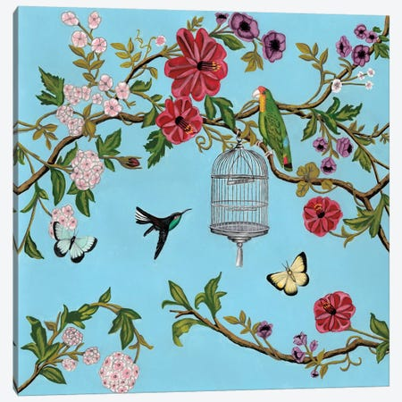 Bird Song Chinoiserie I Canvas Print #NMC213} by Naomi McCavitt Canvas Art Print