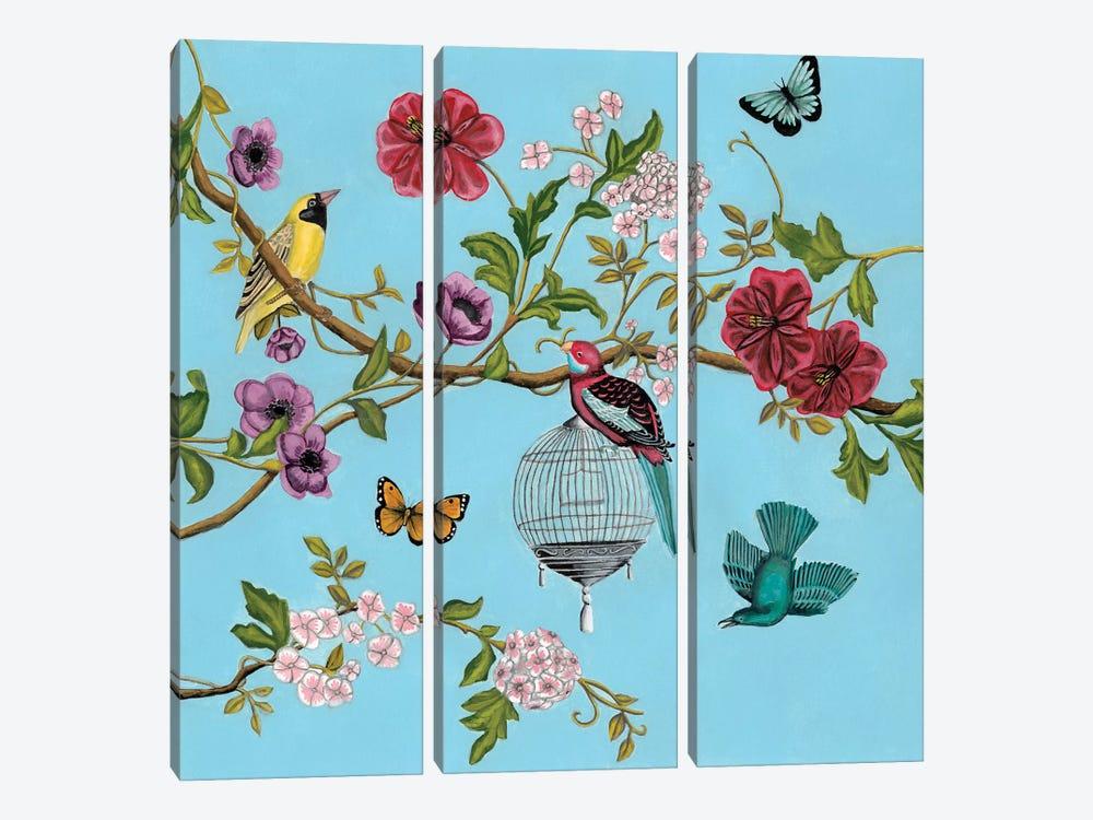 Bird Song Chinoiserie II by Naomi McCavitt 3-piece Canvas Wall Art