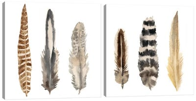 Watercolor Plumes Diptych Canvas Art Print