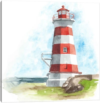 Watercolor Lighthouse I Canvas Print #NMC72