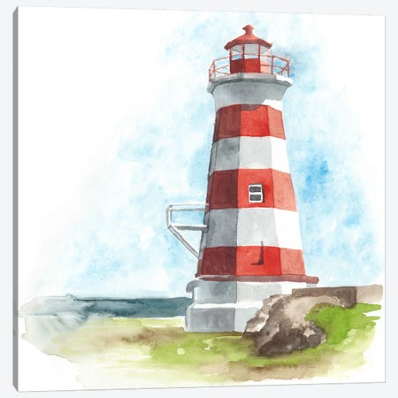 Watercolor Lighthouse I 3-Piece Canvas #NMC72} by Naomi McCavitt Canvas Print