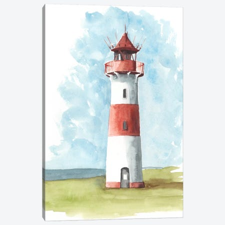 Watercolor Lighthouse II Canvas Print #NMC73} by Naomi McCavitt Canvas Print
