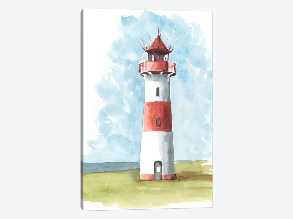 Watercolor Lighthouse II 1-piece Canvas Artwork