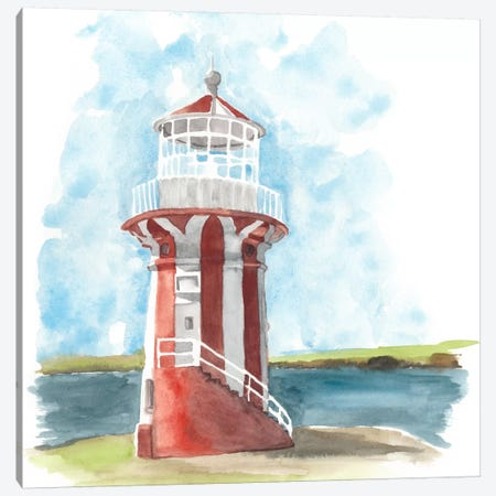 Watercolor Lighthouse III Canvas Print #NMC74} by Naomi McCavitt Canvas Art
