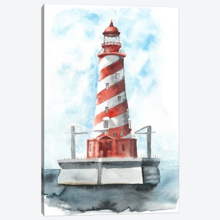 Watercolor Lighthouse IV 3-Piece Canvas #NMC75} by Naomi McCavitt Canvas Art