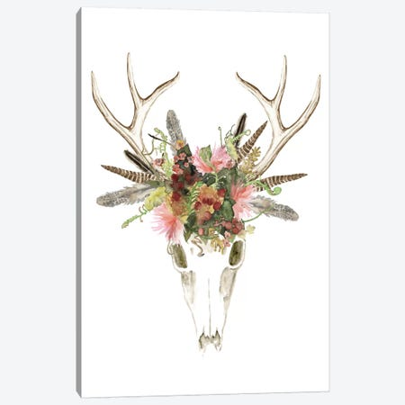 Deer Skull & Flowers I Canvas Print #NMC96} by Naomi McCavitt Canvas Artwork