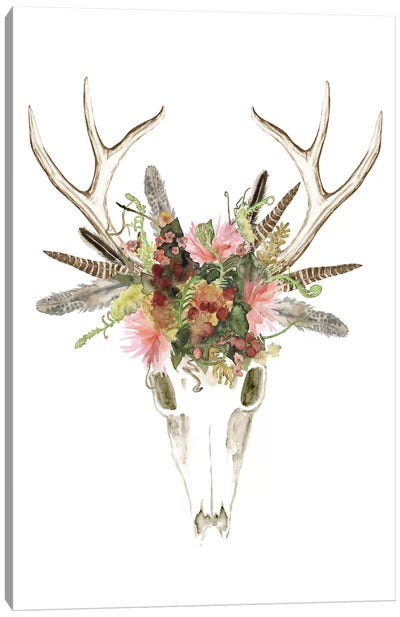 Deer Skull & Flowers I Canvas Art Print