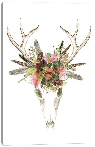 Deer Skull & Flowers I Canvas Print #NMC96