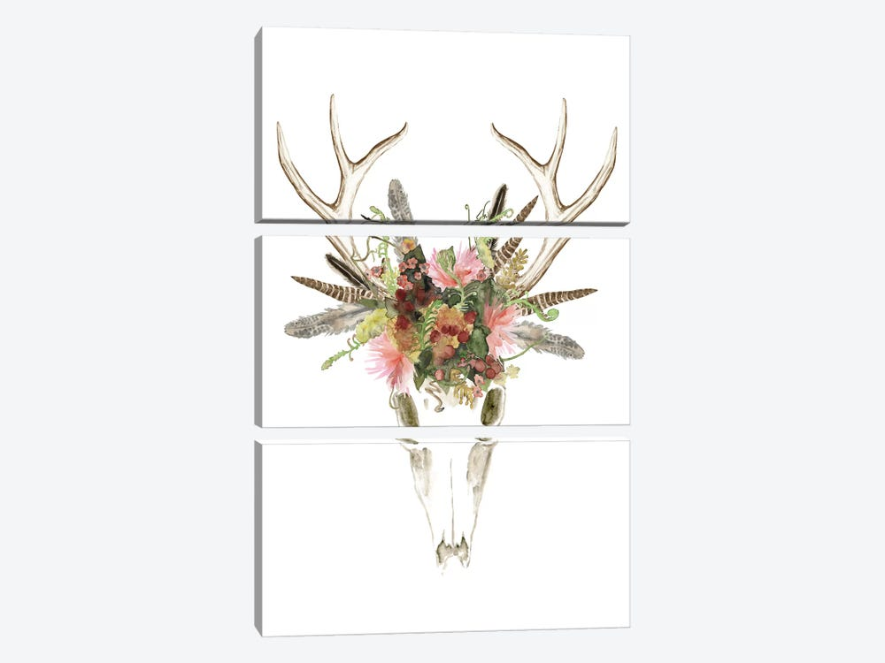 Deer Skull & Flowers I by Naomi McCavitt 3-piece Canvas Art Print