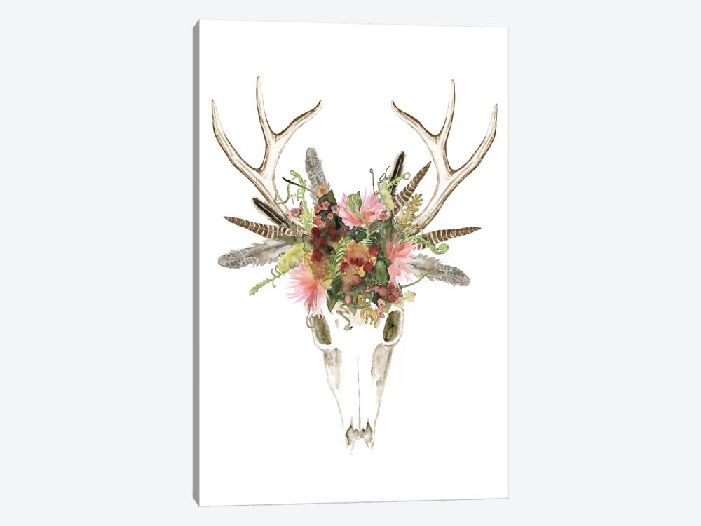 Deer Skull & Flowers I by Naomi McCavitt 1-piece Canvas Print
