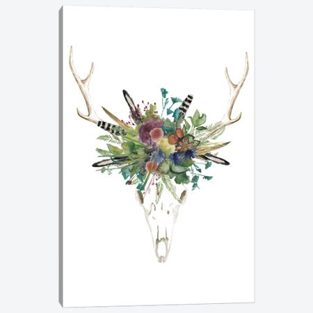 Deer Skull & Flowers II Canvas Print #NMC97} by Naomi McCavitt Canvas Artwork
