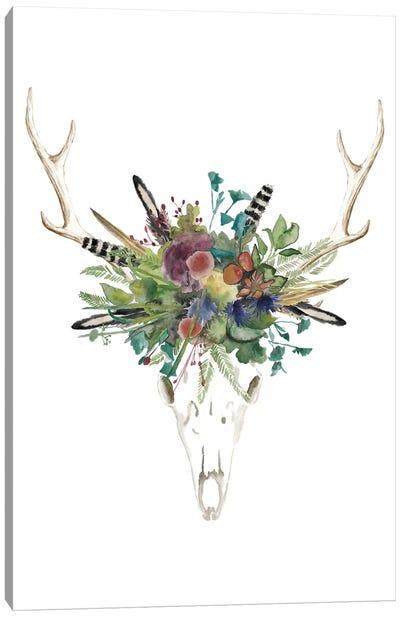 Deer Skull & Flowers II Canvas Print #NMC97