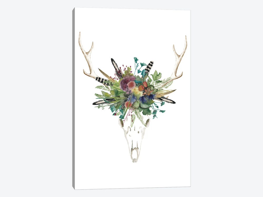 Deer Skull & Flowers II 1-piece Canvas Art