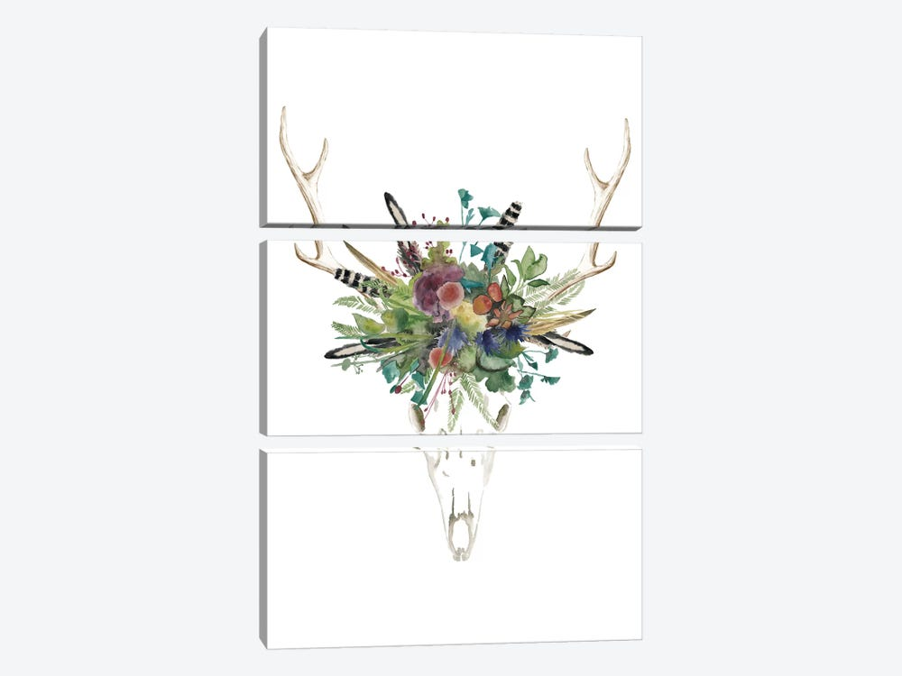 Deer Skull & Flowers II 3-piece Canvas Wall Art