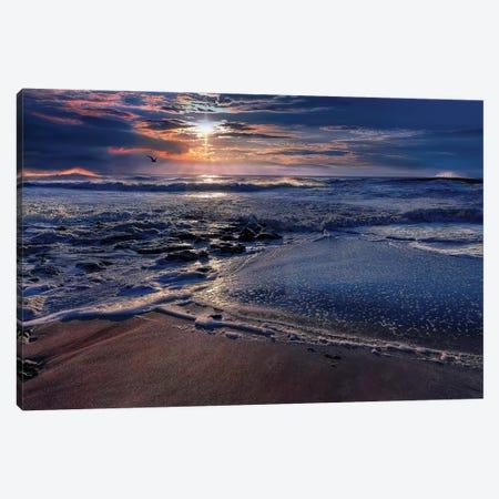 Deep Blue 3-Piece Canvas #NMI4} by Natalie Mikaels Art Print