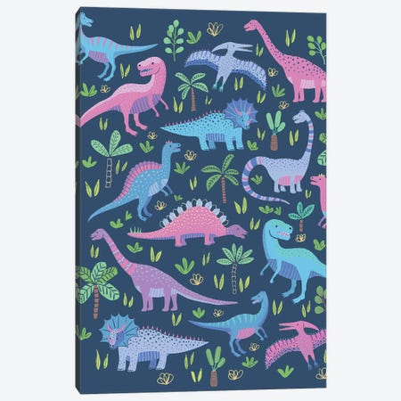 Dino Fun II Canvas Print #NMK14} by Nancy Mckenzie Canvas Wall Art