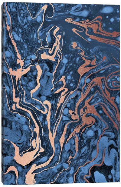 Blue Marbling Canvas Art Print