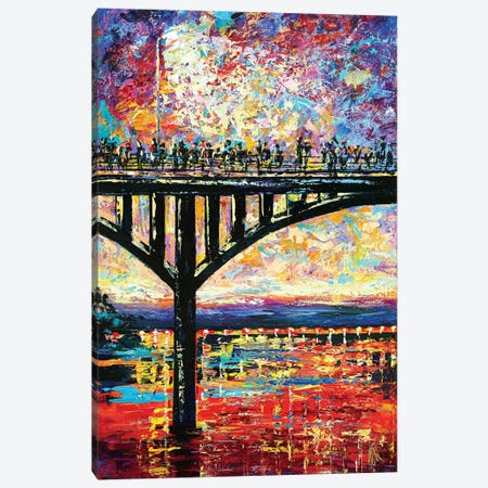 Congress Avenue Bridge Canvas Print #NMY12} by Natasha Mylius Art Print