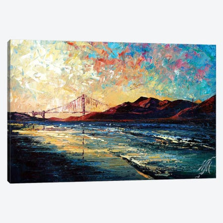 Golden Gate Bridge Canvas Print #NMY17} by Natasha Mylius Canvas Wall Art