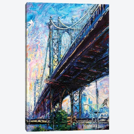 Manhattan Bridge Canvas Print #NMY26} by Natasha Mylius Art Print