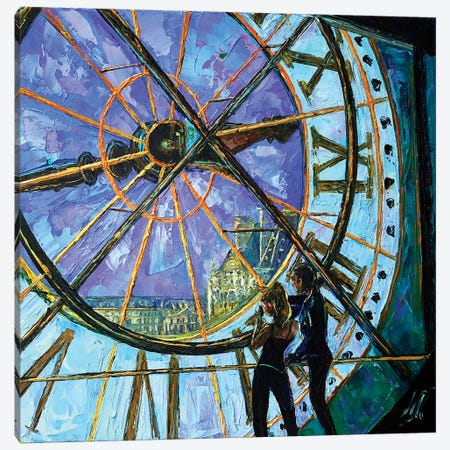 Orsay Clock Canvas Print #NMY38} by Natasha Mylius Art Print