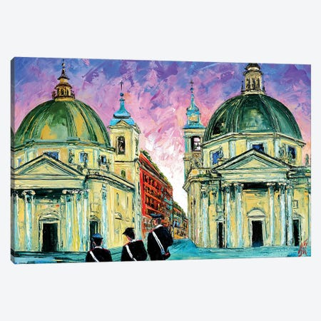 Piazza del Popolo Canvas Print #NMY40} by Natasha Mylius Canvas Art
