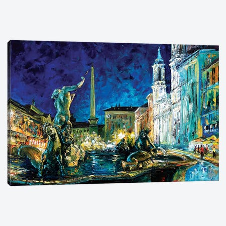 Piazza Navona Canvas Print #NMY41} by Natasha Mylius Canvas Wall Art