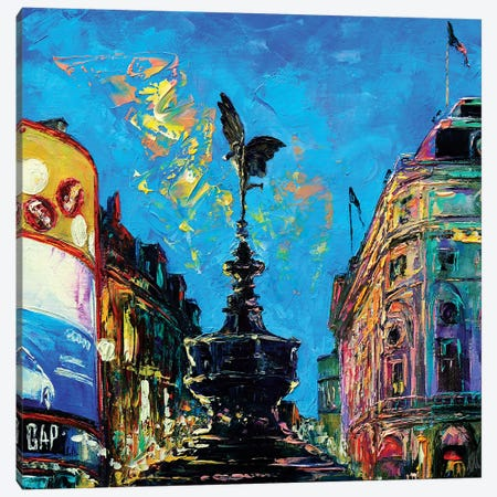Piccadilly Circus Canvas Print #NMY42} by Natasha Mylius Canvas Artwork