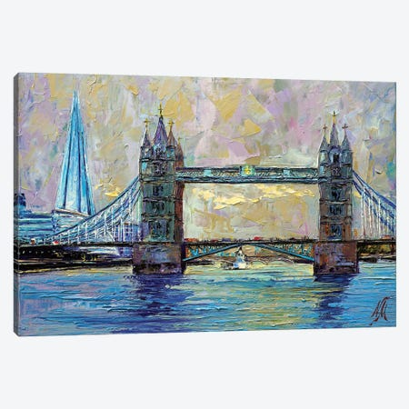 Tower Bridge Canvas Print #NMY54} by Natasha Mylius Canvas Art