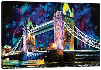 Tower Bridge At Night Canvas Art Print