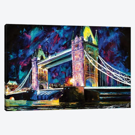 Tower Bridge At Night Canvas Print #NMY55} by Natasha Mylius Canvas Artwork