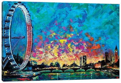 View With London Eye Canvas Art Print