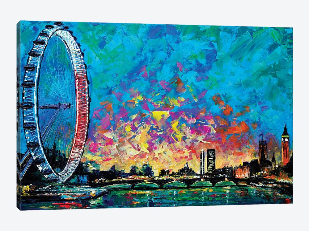 View With London Eye 1-piece Canvas Print