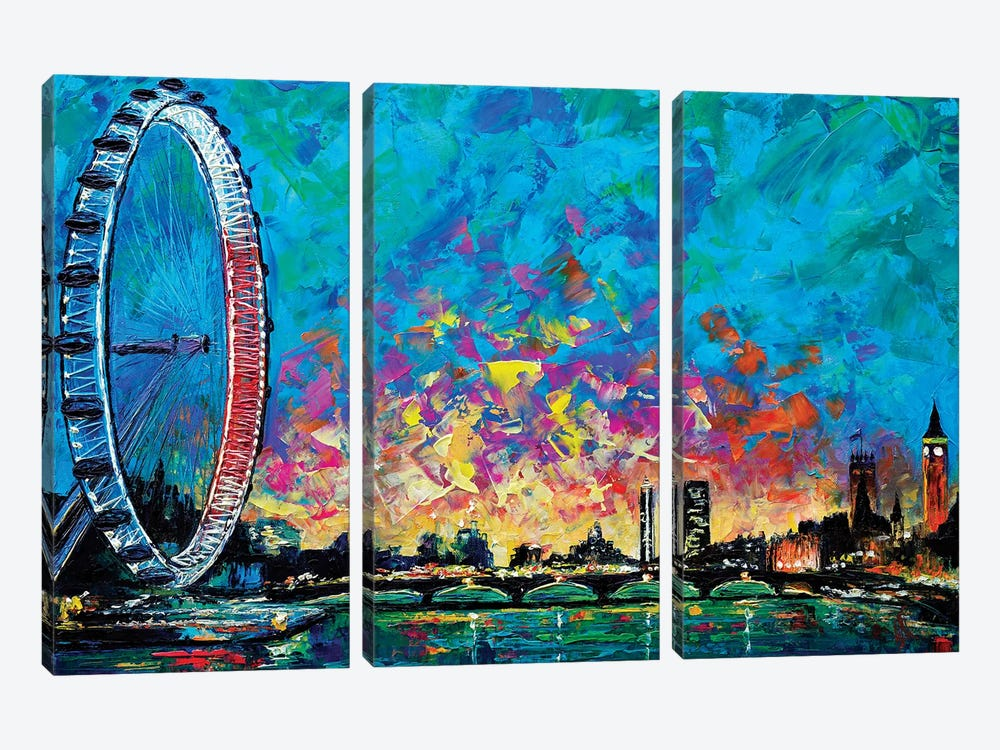 View With London Eye 3-piece Canvas Print