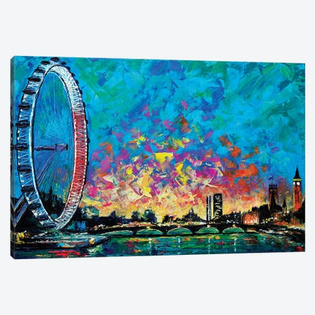 View With London Eye Canvas Print #NMY68} by Natasha Mylius Canvas Art