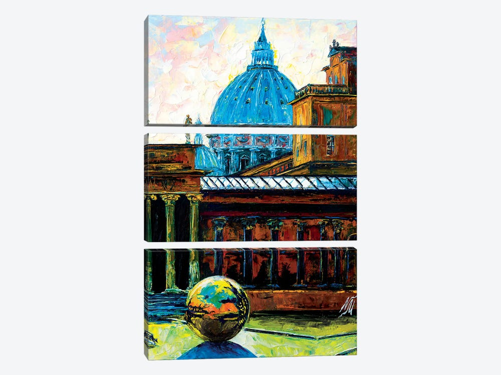 Sphere Within A Sphere At The Pigna Rome by Natasha Mylius 3-piece Canvas Art Print