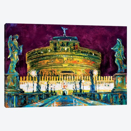 St. Angelo Bridge, Rome Canvas Print #NMY72} by Natasha Mylius Canvas Print