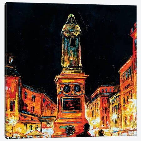 Statue Of Giordano Bruno, Rome Canvas Print #NMY74} by Natasha Mylius Canvas Wall Art