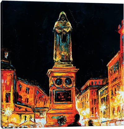 Statue Of Giordano Bruno, Rome Canvas Art Print