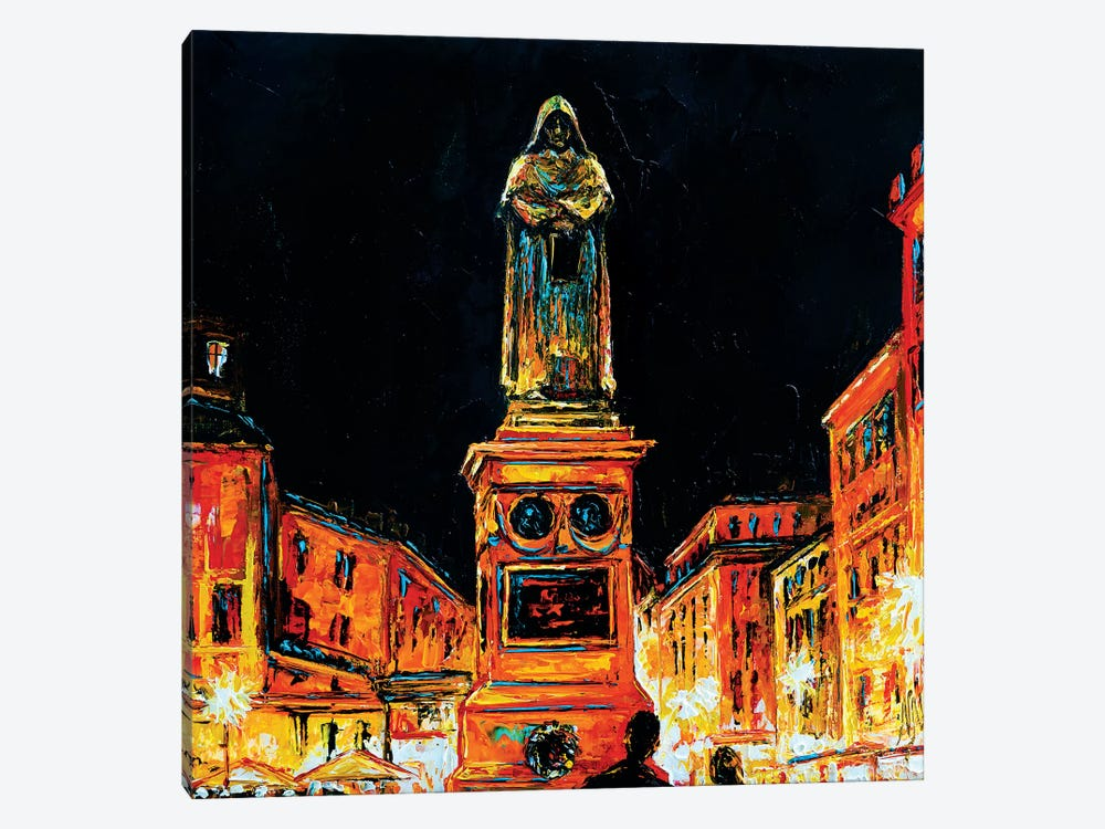 Statue Of Giordano Bruno, Rome by Natasha Mylius 1-piece Canvas Art