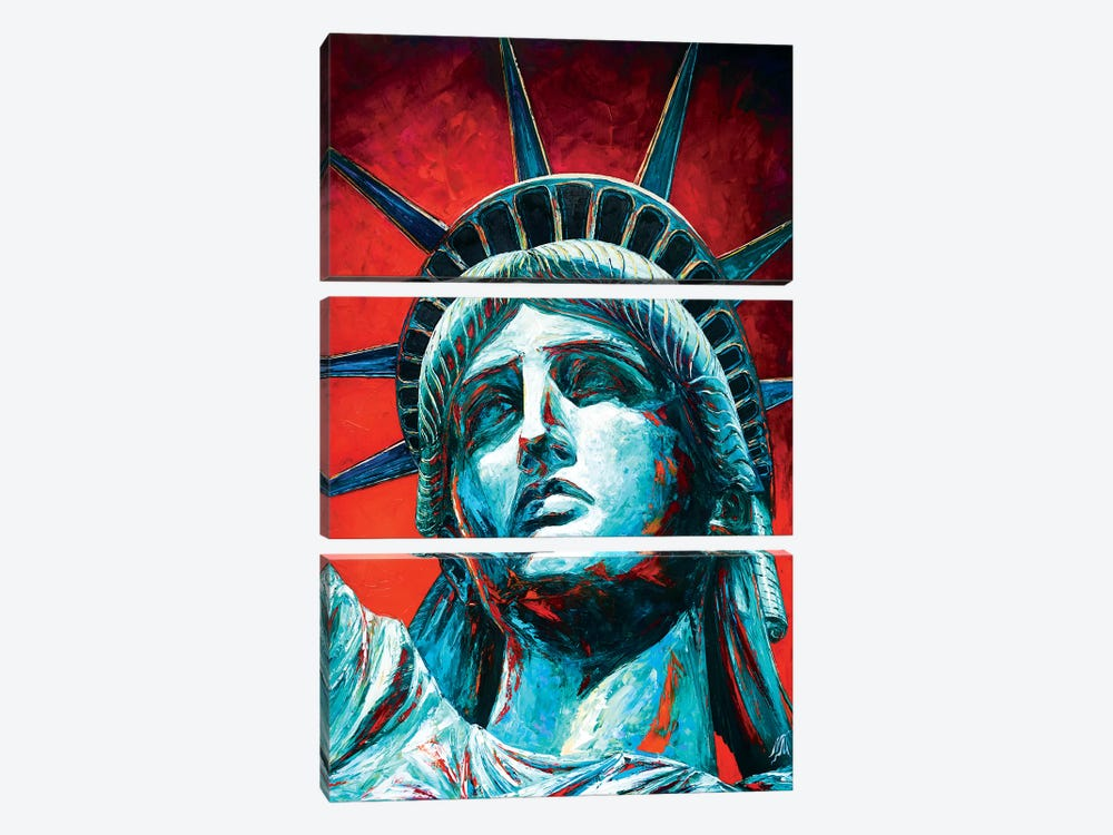 Statue Of Liberty Crown by Natasha Mylius 3-piece Canvas Print