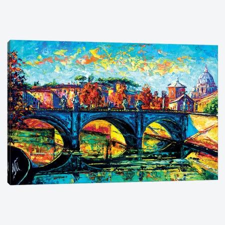 Vittorio Emanuele II Bridge, Rome Canvas Print #NMY77} by Natasha Mylius Canvas Art