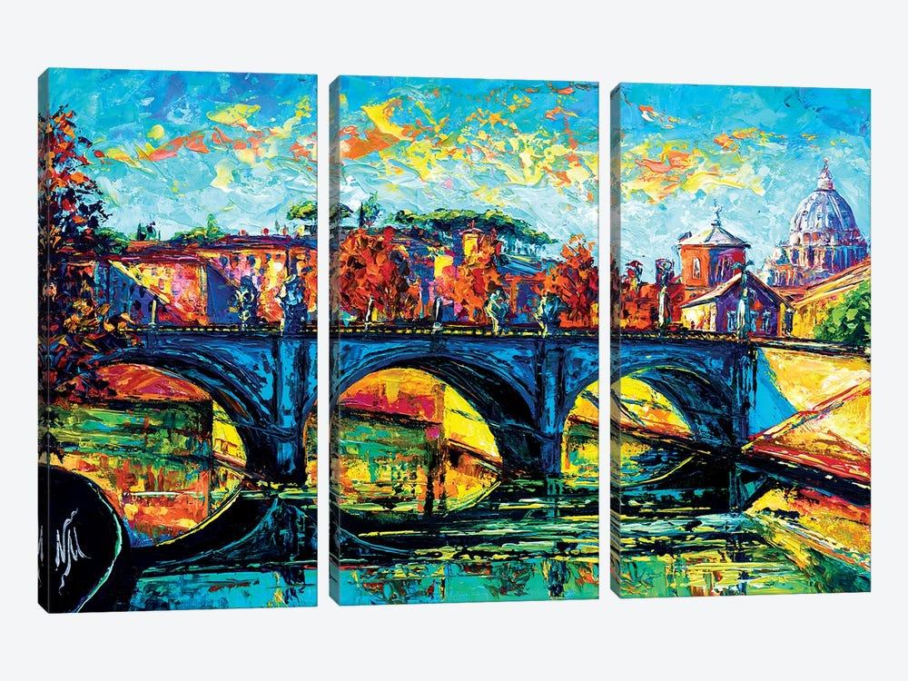 Vittorio Emanuele II Bridge, Rome by Natasha Mylius 3-piece Canvas Print