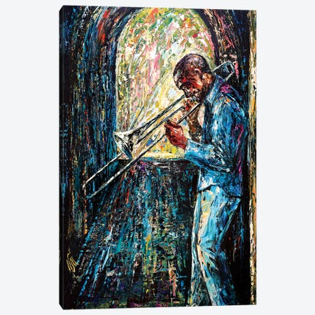 Bluesy Morning Canvas Print #NMY7} by Natasha Mylius Canvas Wall Art