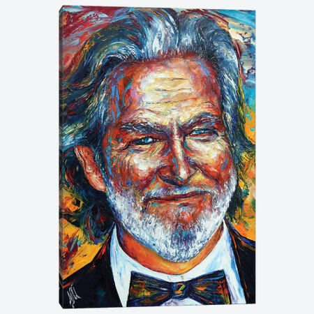 Jeff Bridges Canvas Print #NMY80} by Natasha Mylius Canvas Artwork